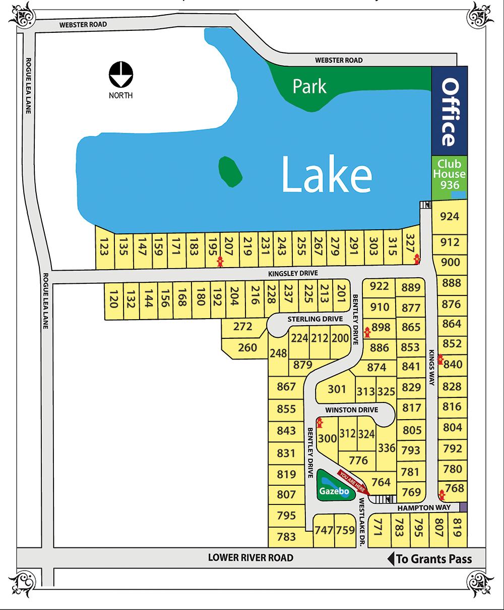 Map Of Homesites Westlake Village Mobile Home Park Grants Pass